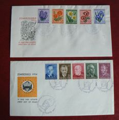 The Netherlands 1952/1954 - FDC Summer stamps - NVPH E13 and E16