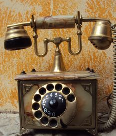 Marble and brass Empire-style phone - France - 1960s