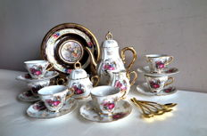 Retro Limoges gilt coffee set with gold-plated coffee spoons and gilded decorative plate