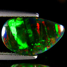 Black  Opal with Patch Work Pattern  - 12.04 x 7.06 x 4.03 mm  - 2.09 Ct