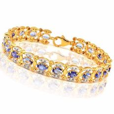 14KT Yellow Gold  With - Diamonds  0.7ct and  tanzanite  Total Length : 9 inches ***no reserve***