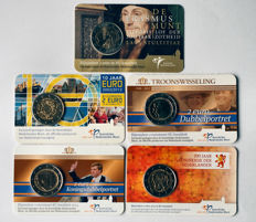 The Netherlands – 2 euro 2011/2014 commemorative coins (5 different ones) in coin cards