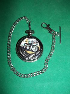 Franklin Mint - Harley Davidson® 1936 Knucklehead Pocketwatch with chain - very good and working condition