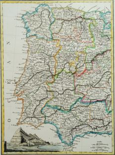 Portugal, West Spain; Lapie / Malte Brun - Espagne Occidentale et Portugal - 1812