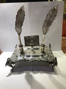 Silver inkstand - Spain - second half of the 20th century.