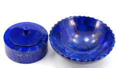 Finest quality Royal Blue Lapis Lazuli jewellery box & 'Lapis Lazuli Bowl - 93 x 62mm and 126 x 52mm - 704gm
