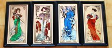 The four Seasons, Alphonse Mucha - Four wooden framed mirrors
