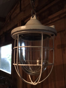 Designer unknown – cage / bully lamp, industrial white