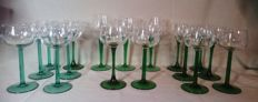 18 Retro green crystal glasses