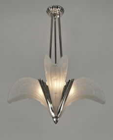 EJG - Art Deco chandelier - nickeled bronze and moulded glass
