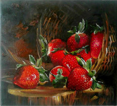 2 x Alexandr Nakonechniy - Still lifes with Strawberries and cherries in the basket