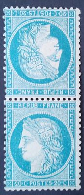 France 1870 – Cérès perforated, 20c blue tête-bêche vertical, signed Miro and Brun with certificat - Yvert n° 37c.