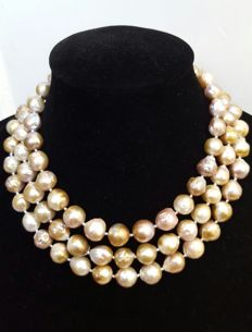 Long necklace with large freshwater cultured pearls (12 mm) - Length:  134 cm