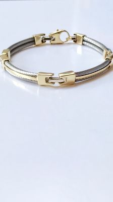 Steel cable and 18 kt gold bracelet – Length 20 cm