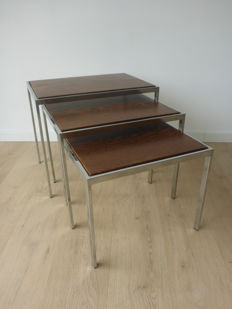 Designer unknown – set of 3 nesting tables, made of chrome, wenge wood and white formica