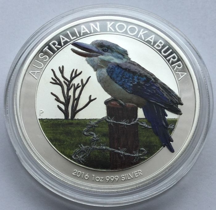 Australia - 1 Dollar 2016 'Kookaburra' with colour' - 1 oz silver