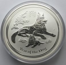 Australien: 10 Dollars 2018 Lunar 'Year of The Dog' - 10 oz Silbermünze
