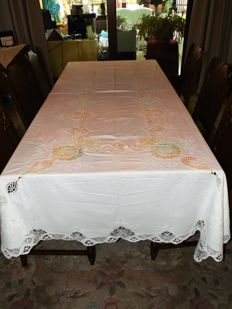 Beautiful openwork antique large tablecloth