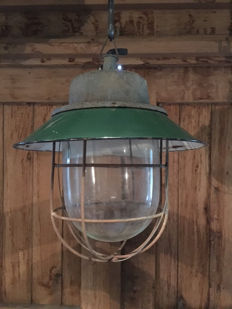 Unknown designer – Cage / bully lamp , industrial with green enamel shade