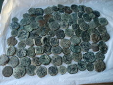 Spain, lot with 97 coins from the regency period of the Austrias (1600 to 1700)