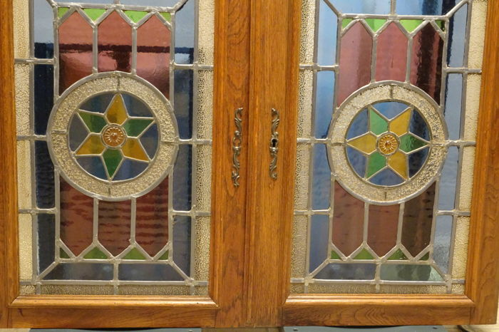 Pair Of Stained Glass Panels, Previously Used As Cabinet Doors   Late 19th  Century