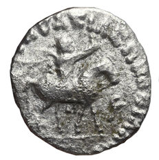 Indo-Scythian Kingdom – AZES, Silver Drachm, 58-12 BC. Taxila mint. Caspar (The three wise mens)