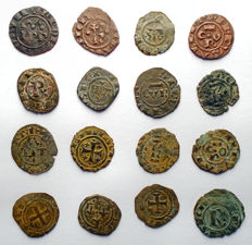 Italian Mints - Lot of 16 Swabian and Aragonese coins from the 12th Century