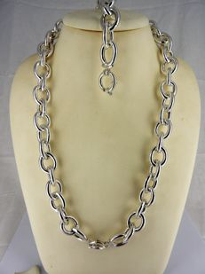 .925 Silver necklace and bracelet with large spring clasp - 53 cm + 20.5 cm - 109.24 grams