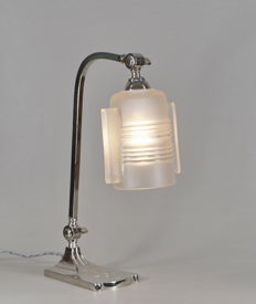 Charles RANC - Art Deco lamp - nickeled bronze and moulded glass