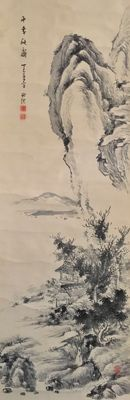 Detailed hand-painted scroll - 'Chinese mountain landscape with hermit hut' - sealed and signed - Japan - ca. 1920