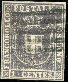 Tuscany 1860 - Provisional Government - 1 centesimo violet brown - Sass. No. 17