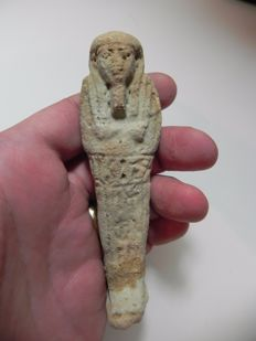 Egyptian faience ushabti Inscribed with Hieroglyphs - 11.2 cm