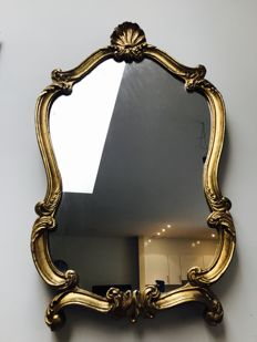 Large gold-plated rococo mirror, Italy, ca. 1980