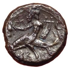 The Greek Antiquity - Southern Apulia, Brundisium c. 215 BC - Æ 1/4 Uncia (Bronze, 14mm, 2,60g.) - Head of Neptune / Dolphin rider - Rutter HN Italy 740: SNG Cop. 716