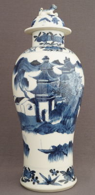 Large baluster vase with lid with scholars in landscape decor - China - 19th century