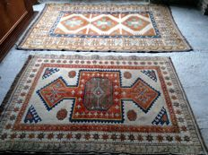 Two hand-knotted Turkish Kars carpets of 210 x 140 cm and 160 x 120 cm, from 1950 to present