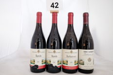 1984, Marchesi di Barolo 'Barolo' x 2 bottles - 1989, Marchesi di Barolo Barbaresco x 1 bottle - 1988, Produttori del Barbaresco Rio Sordo x 1 bottle / Totale 4 Bottles.