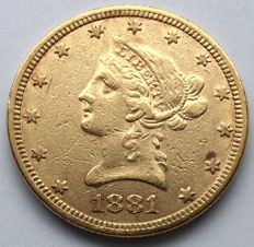 "USA - 10 dollars 1881 ""Libery Head"" - gold"