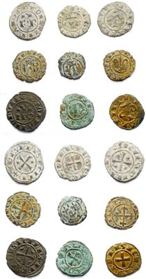 Italian Mints - Lot of 9 coins from Swabian and Aragonese dynasties, 12th Century