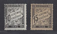 France 1881 – Number (Dufal type) 10c. + 15c noir – Yvert TT no. 15/16