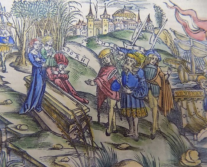 Grüninger Master - Illustrated post-incunabula leaf - Virgil's Aeneid - Hector's Funeral - hand colored - 1529