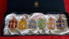 Fabergé open Christmas baubles with coloured Swarovski crystals, 24 carat gold-plated, rarely offered