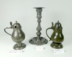 Set of 3 pewter objects, nicely marked in's Hertogenbosch. Excellent condition.