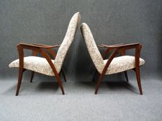 Mid-century design, set of a women's and men's armchair in Danish style