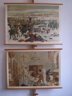 2 School posters respectively. Dutch Infantry at the bridges over the Berezina and in a medieval monastery, both with a booklet