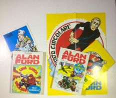 Alan Ford - no. 58 and no. 66 with gadgets poster and stickers (1974)