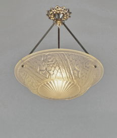 Charles Schneider - Art Deco chandelier - nickel plated bronze and moulded glass