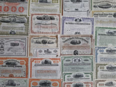 Lot of 24 different USA Railroad stocks & bonds (steamlocs) from the 19th  and  20th   century (1881-1977).  Beautiful engraving.