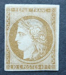 France 1850 – Reprint 10c light brown, signed Jacquard with digital certificate – Yvert no. 1f.
