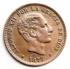 Spain - Alfonso XII - 5 Cents of Copper - 1877 - Barcelona